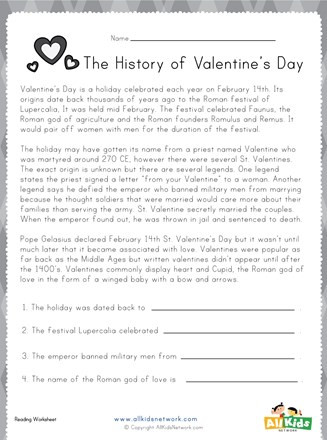 History Worksheets for 2nd Grade Valentine S Day Reading Worksheet