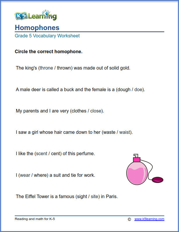 Homonyms Worksheets 5th Grade Grade 5 Vocabulary Worksheets – Printable and organized by