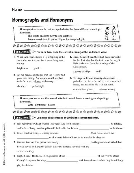 Homonyms Worksheets 5th Grade Homographs and Homonyms Worksheet for 5th 8th Grade