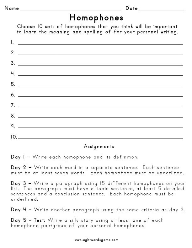 Homonyms Worksheets 5th Grade Homophone Definition Worksheets