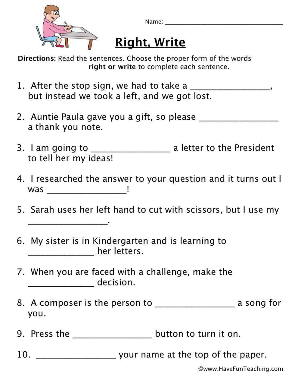 Homonyms Worksheets 5th Grade Right Write Homophones Worksheet