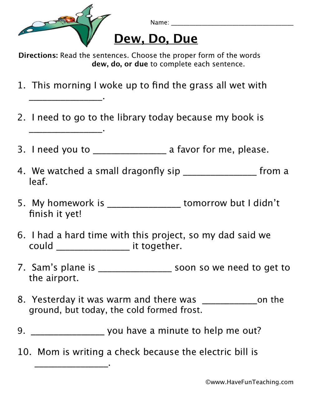 Homophone Worksheet 4th Grade Dew Do Due Homophones Worksheet
