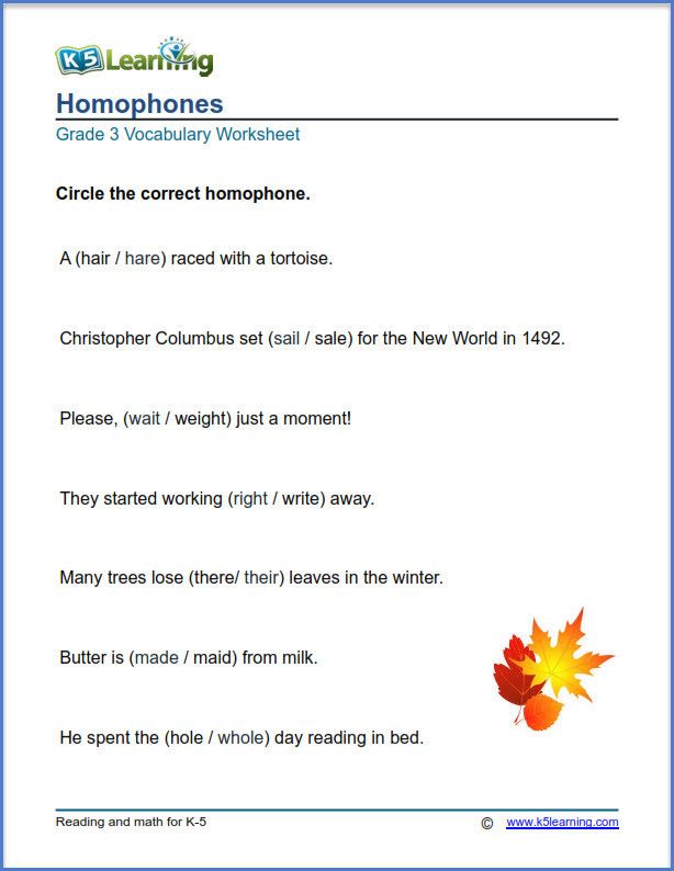 Homophones Worksheet 4th Grade Grade 3 Vocabulary Worksheets – Printable and organized by