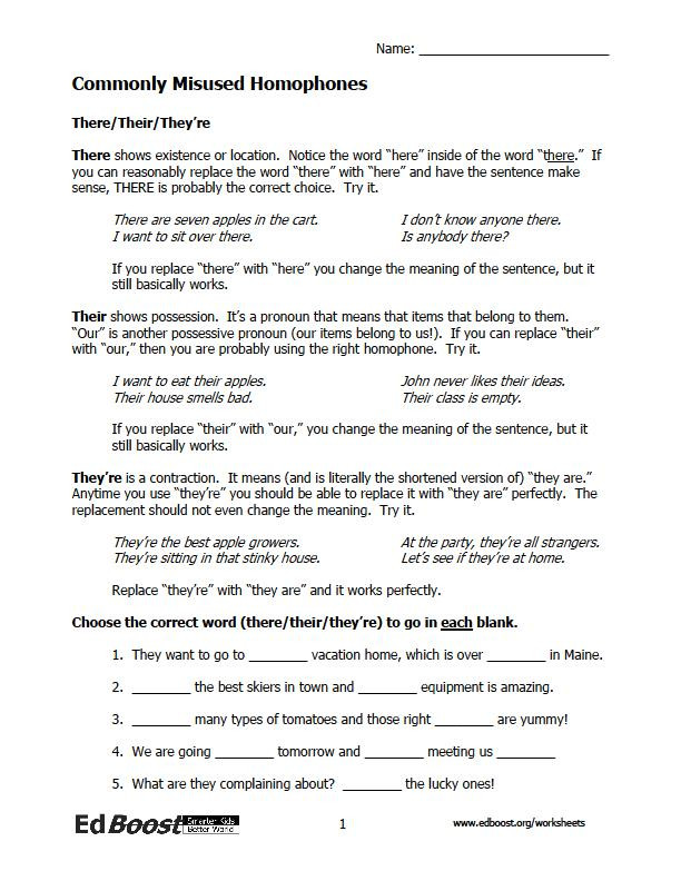Homophones Worksheet 4th Grade Homophone Worksheets