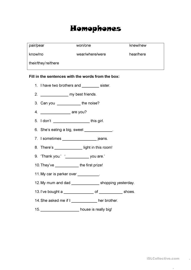 Homophones Worksheet 4th Grade Homophones for Beginners English Esl Worksheets for
