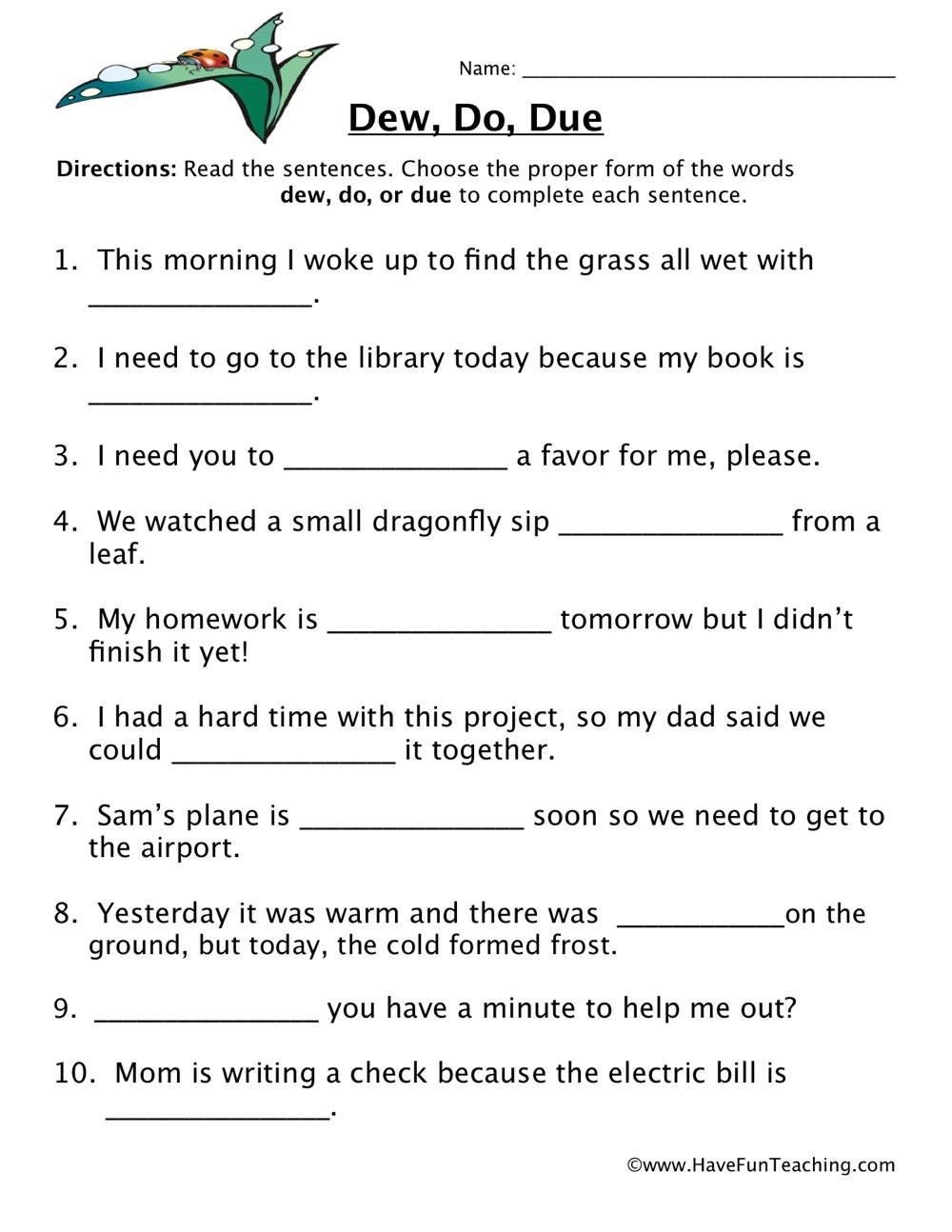 Homophones Worksheet 5th Grade Dew Do Due Homophones Worksheet