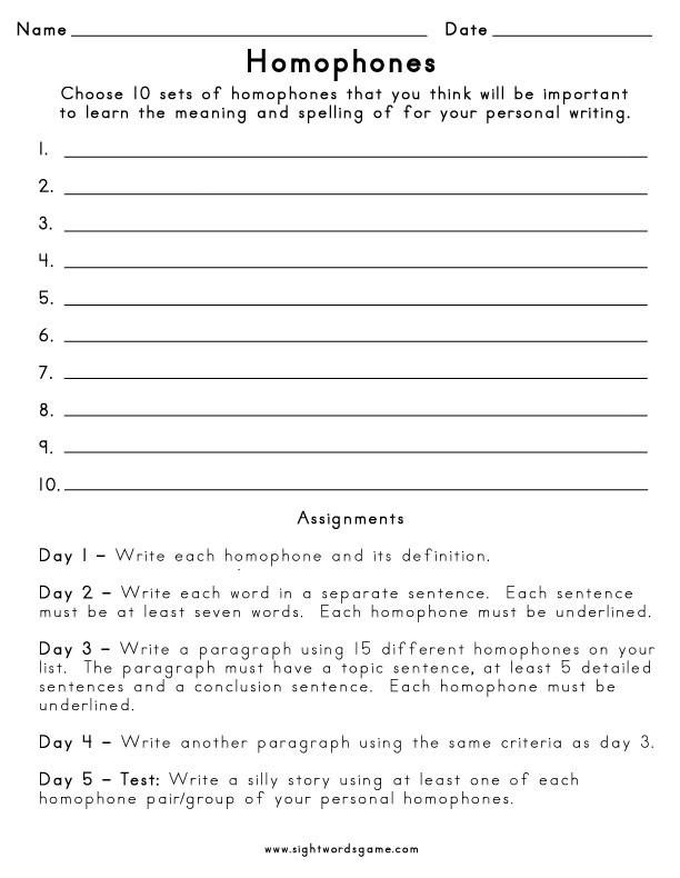 Homophones Worksheet 5th Grade Homophone Definition Worksheets