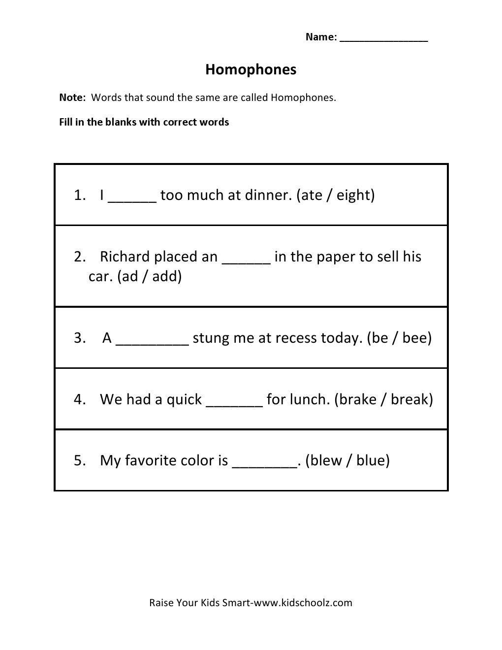 Homophones Worksheet 5th Grade Homophones Worksheets for Grade 5