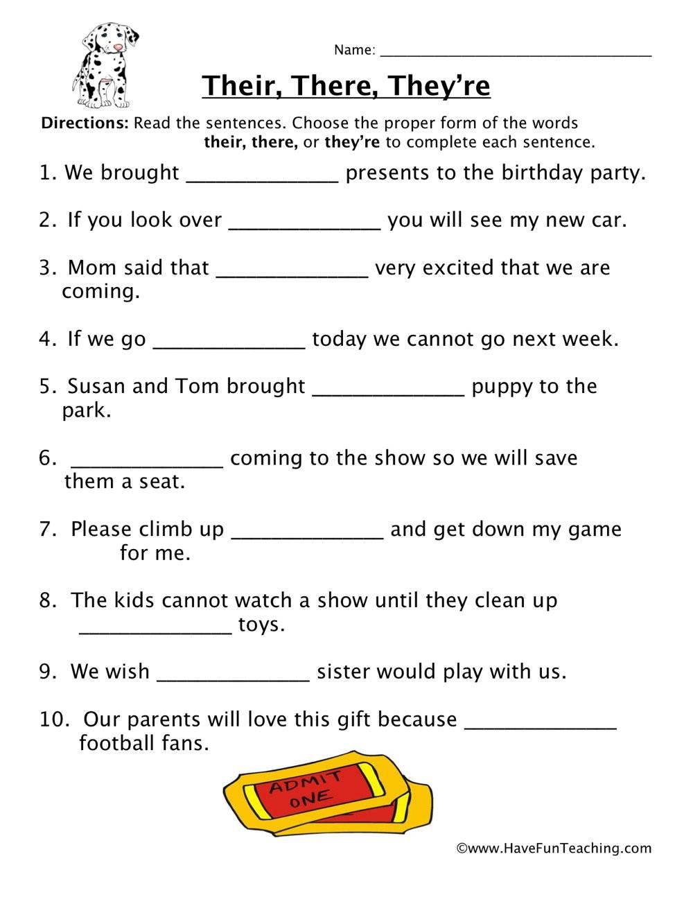 Homophones Worksheet 5th Grade their there they Re Homophones Worksheet