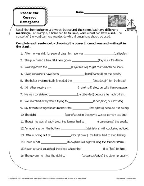 Homophones Worksheet 6th Grade Choose the Correct Homophone Worksheet for 3rd 6th Grade