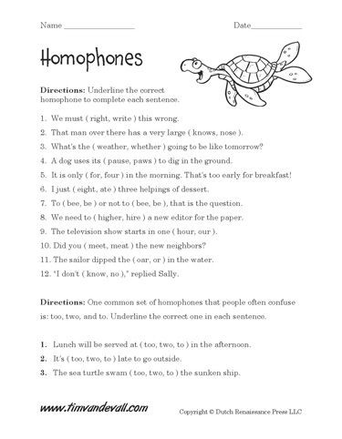 Homophones Worksheet 6th Grade Free Homophones Worksheets