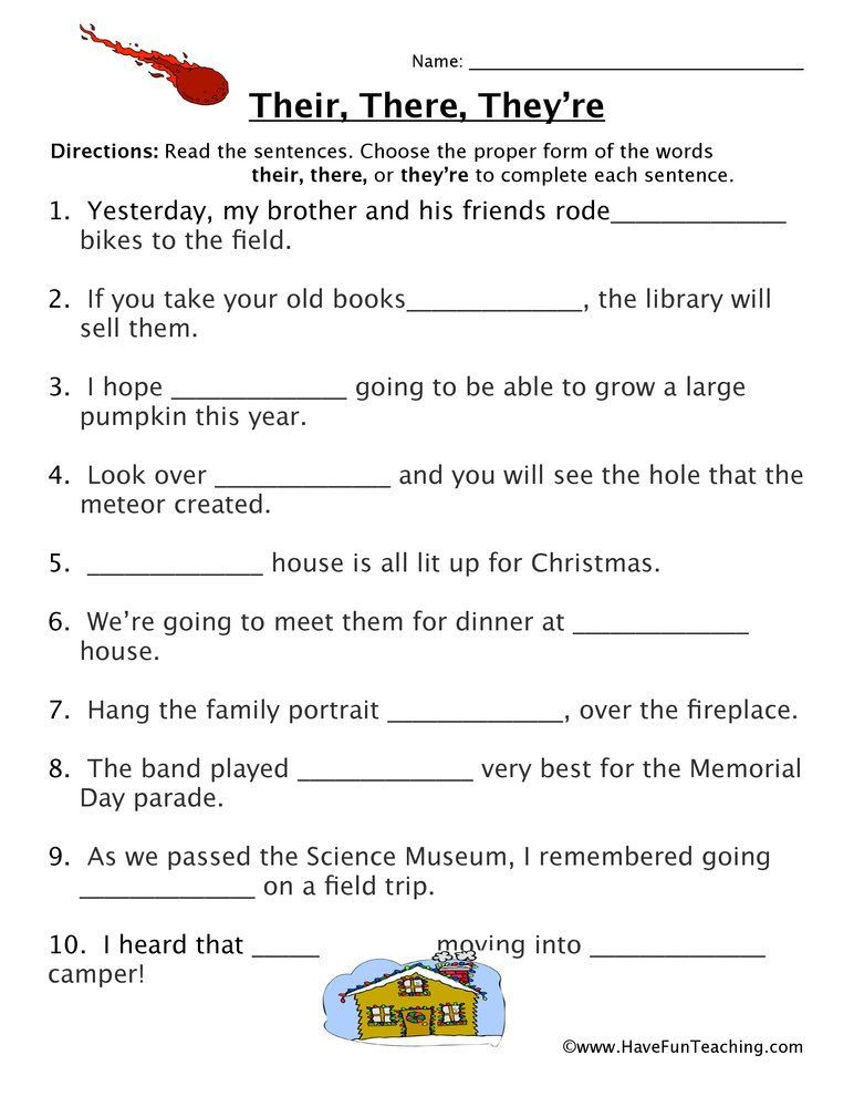Homophones Worksheet 6th Grade their there they Re Fill In the Blank Homophones Worksheet