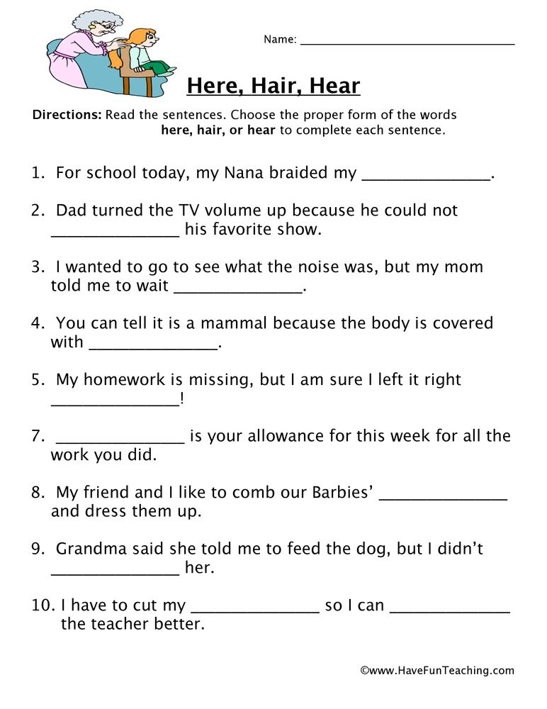 Homophones Worksheets 4th Grade Here Hair Hear Homophones Worksheet