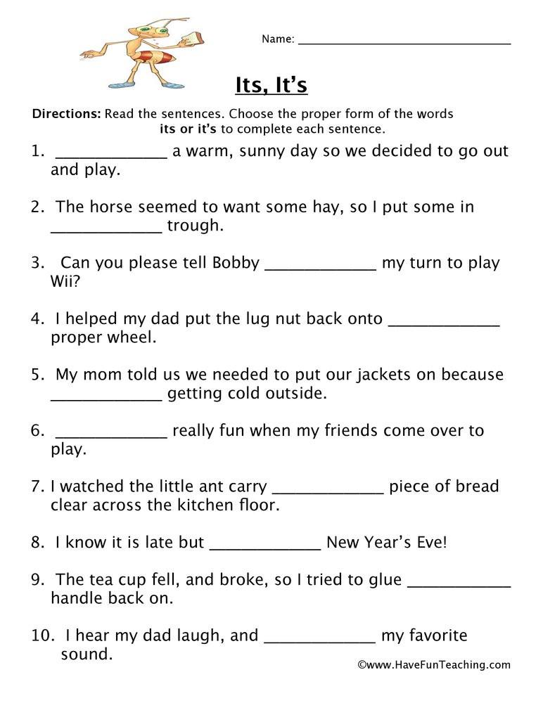 Homophones Worksheets 4th Grade Its It S Homophones Worksheet