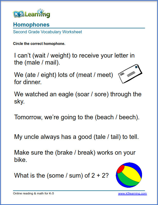 Homophones Worksheets for Grade 2 2nd Grade Vocabulary Worksheets – Printable and organized by