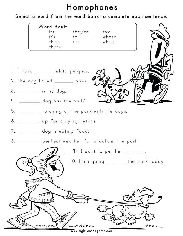 Homophones Worksheets for Grade 2 Homophones Sight Words Reading Writing Spelling