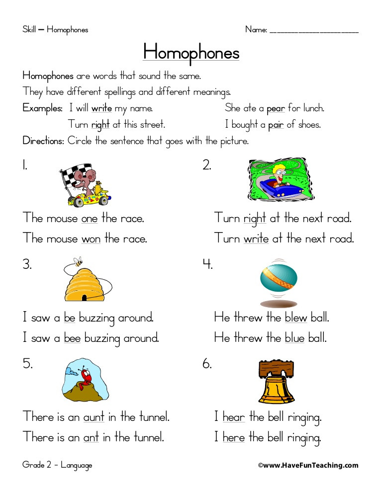 Homophones Worksheets for Grade 2 Homophones Worksheet