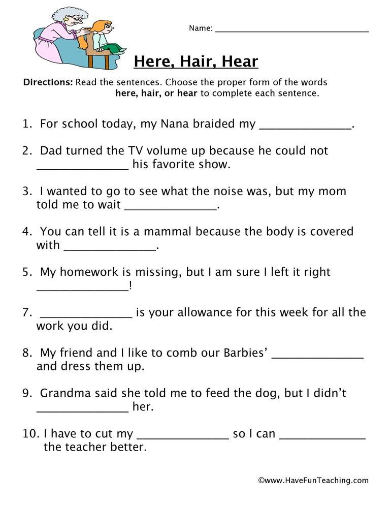 Homophones Worksheets for Grade 5 Here Hair Hear Homophones Worksheet