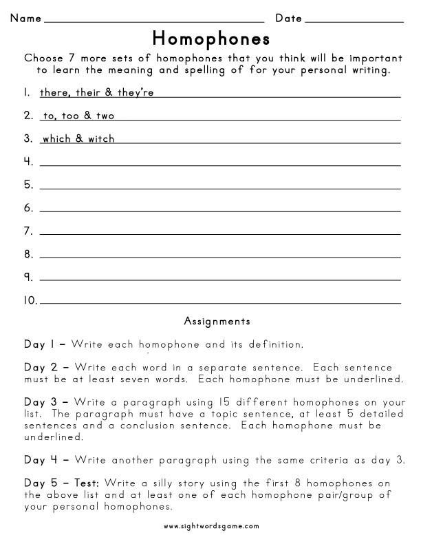 Homophones Worksheets for Grade 5 Homophone Definition Worksheets