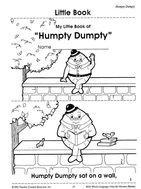 Humpty Dumpty Printable Book Humpty Dumpty Printable Book