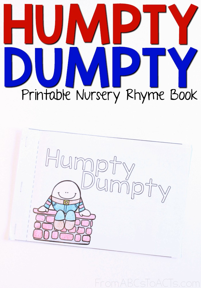 Humpty Dumpty Printable Book Humpty Dumpty Printable Nursery Rhyme Book