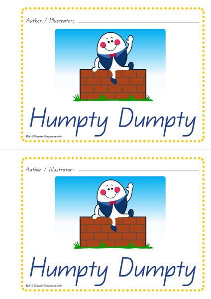 Humpty Dumpty Printable Book Printable Humpty Dumpty Concept Book