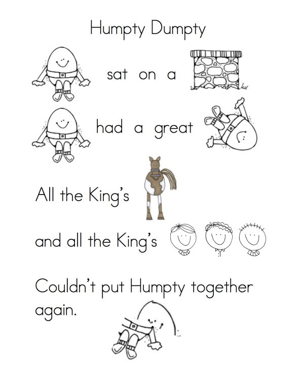 Humpty Dumpty Printable Book Rhyming