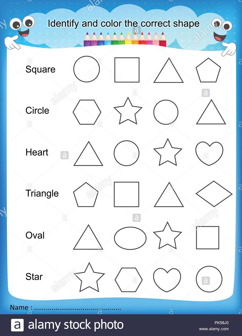Identify Shapes Worksheet Kindergarten Identify and Color the Correct Shape Colorful Printable Kids