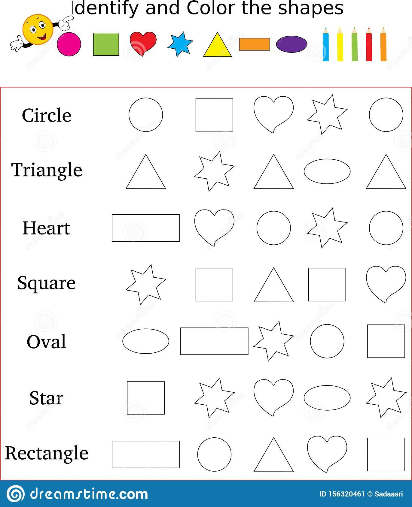 Identify Shapes Worksheet Kindergarten Identify and Color the Correct Shape Worksheet Stock Image