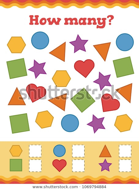 Identify Shapes Worksheet Kindergarten Identify Color Correct Shape Learn Shapes เวกเตอร์สต็อก