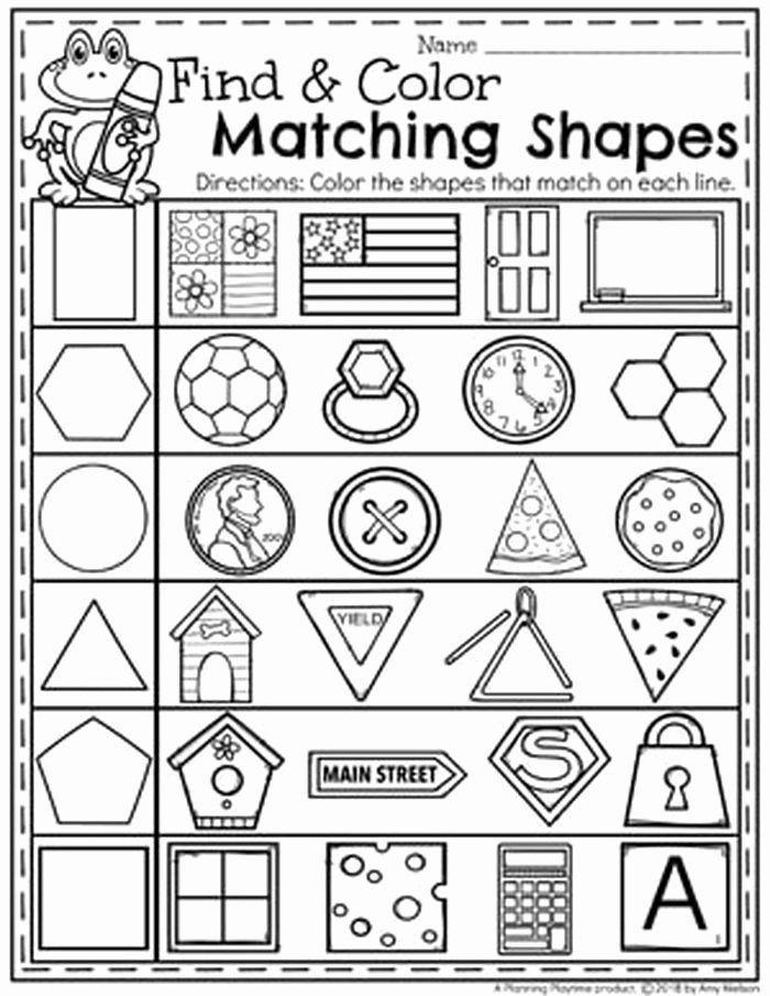 Identify Shapes Worksheet Kindergarten Identify Shapes Worksheet Kindergarten 9 Matching Shapes to