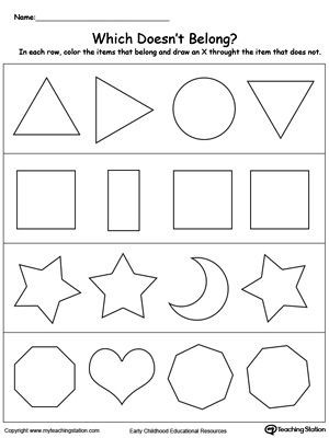 Identify Shapes Worksheet Kindergarten Identify the Shape that Does Not Belong In the Group