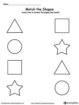 Identify Shapes Worksheet Kindergarten Match the Shapes