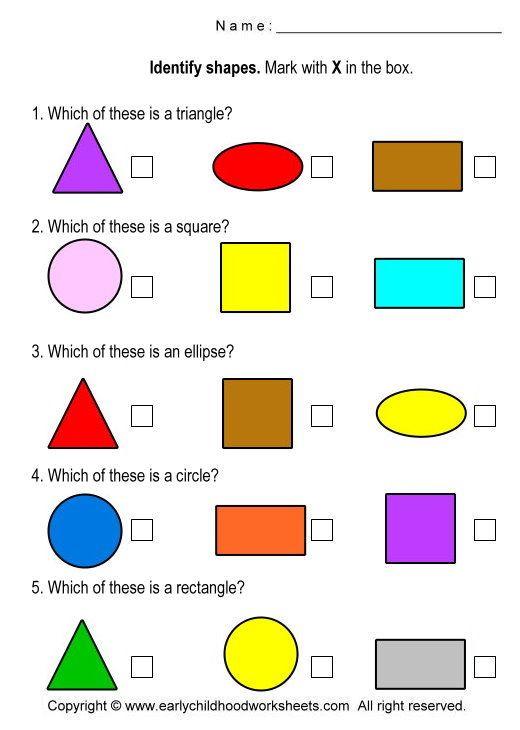 Identify Shapes Worksheet Kindergarten Math Shapes Identify Shapes