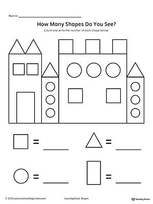 Identify Shapes Worksheet Kindergarten Recognize and Count the Shapes In the Castle