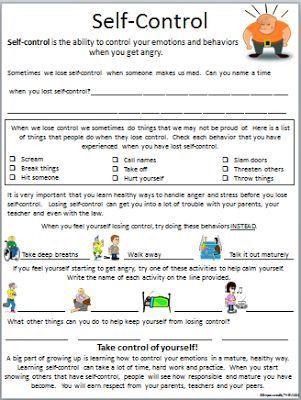 Impulse Control Worksheets Printable Self Control Worksheet