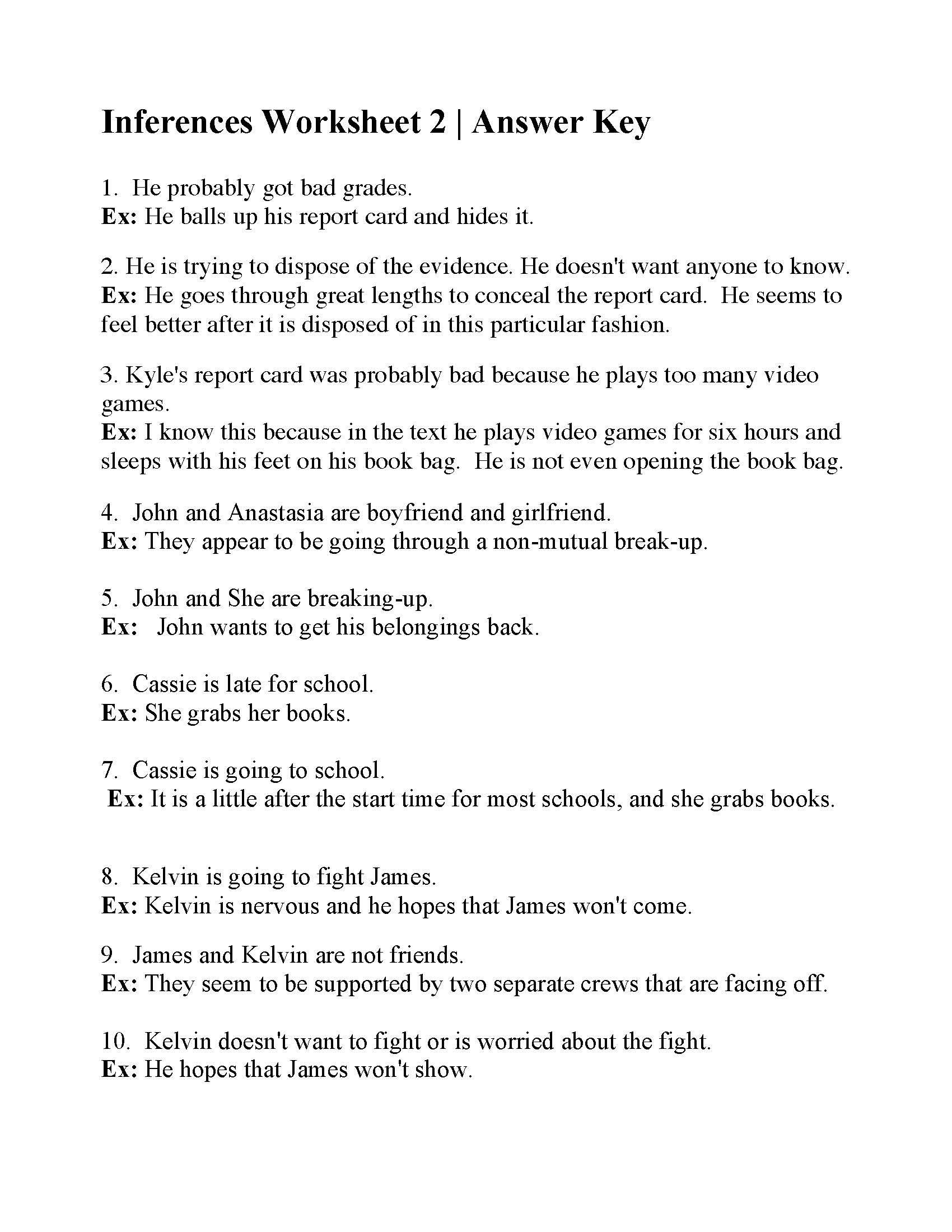 Inference Worksheets 4th Grade Inferences Worksheet 2