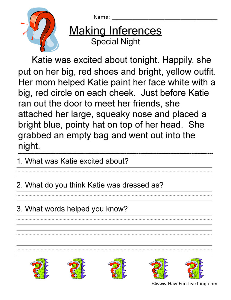 Inference Worksheets 4th Grade Making Inferences Special Night Worksheet