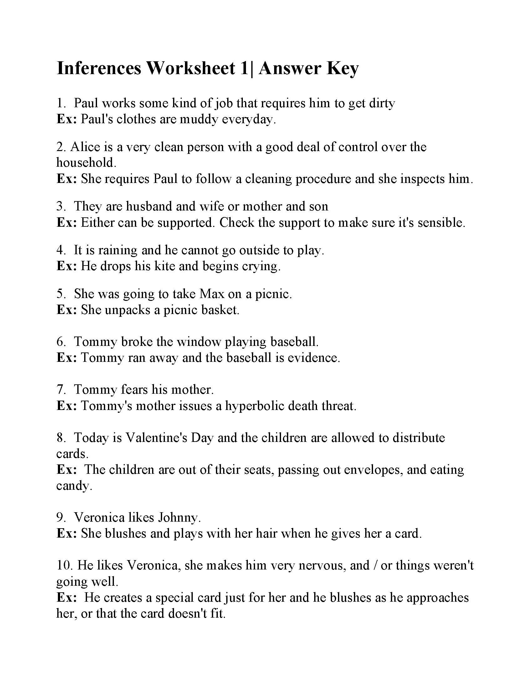 Inference Worksheets for 4th Grade Inferences Worksheet 1