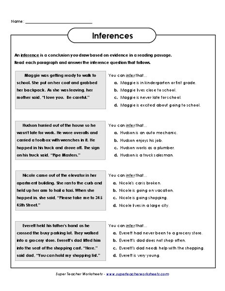 Inference Worksheets for 4th Grade Inferences Worksheet for 3rd 4th Grade