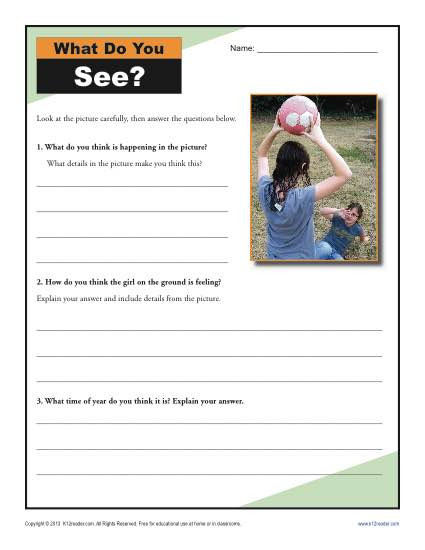 Inference Worksheets for 4th Grade What Do You See