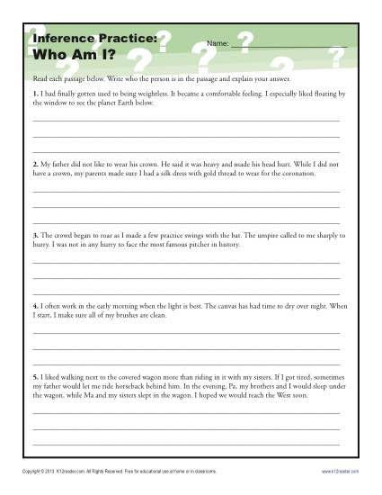 Inference Worksheets for 4th Grade who Am I