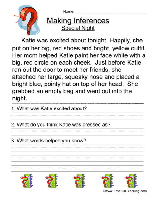 Inference Worksheets Grade 4 Inference Worksheets • Have Fun Teaching
