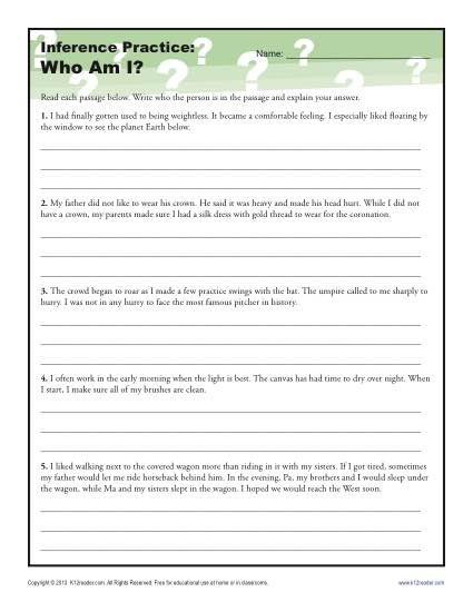 Inference Worksheets Grade 4 who Am I