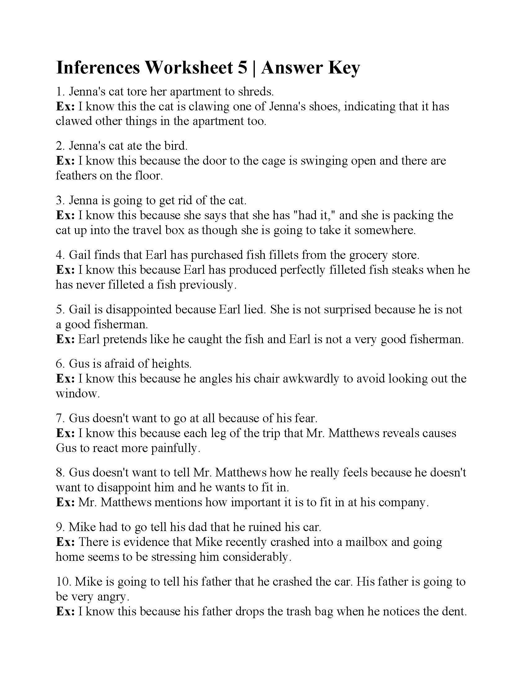 Inferencing Worksheets Grade 4 Inferences Worksheet 5