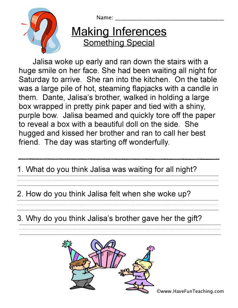 Inferencing Worksheets Grade 4 Making Inferences Story Worksheet