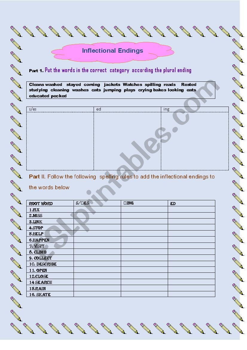 Inflected Endings Worksheets 2nd Grade Inflectional Endings Esl Worksheet by Joselyn27