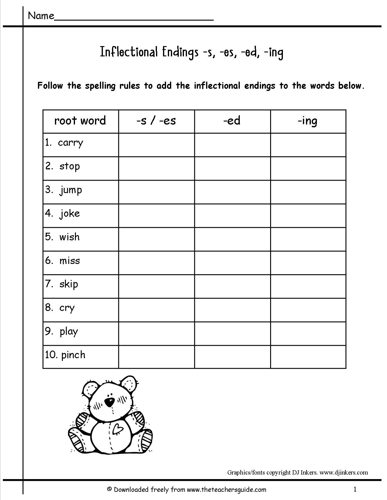 Inflected Endings Worksheets 2nd Grade Wonders Second Grade Unit Four Week Two Printouts