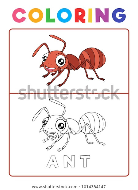 Insect Worksheets for Preschoolers Funny Ant Insect Animal Coloring Book เวกเตอร์สต็อก ปลอดค่า