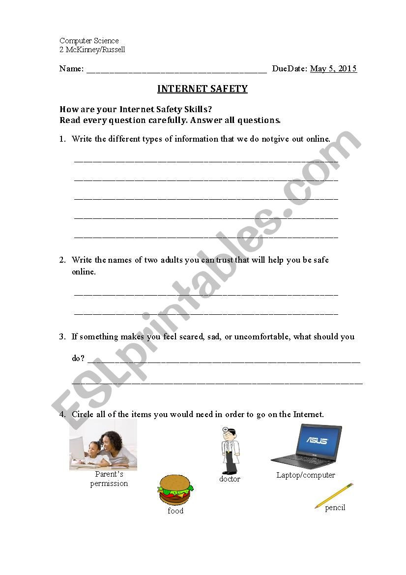 Internet Safety Worksheets Printable Internet Safety Esl Worksheet by Pkhield